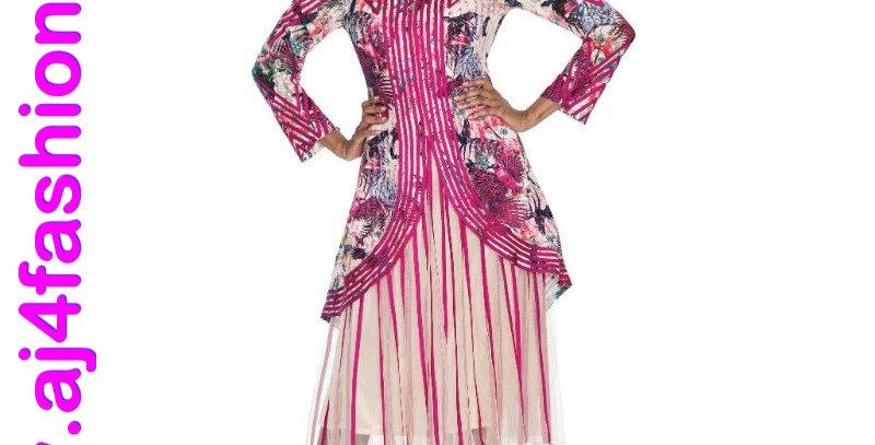 137604 - 2 Pcs Dress & Jacket - Magenta (Light for hot season)