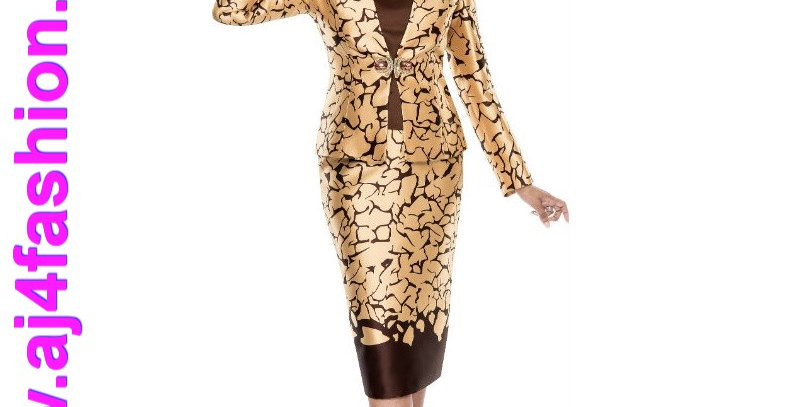 275574 - Brown/Gold - 3 Pcs Suit Plus Hat