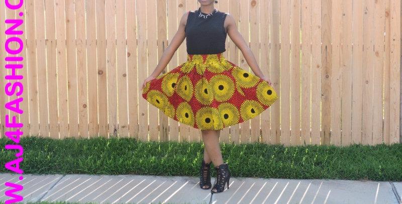 African Skirt with Elastic Waist - AJ4F317-7008
