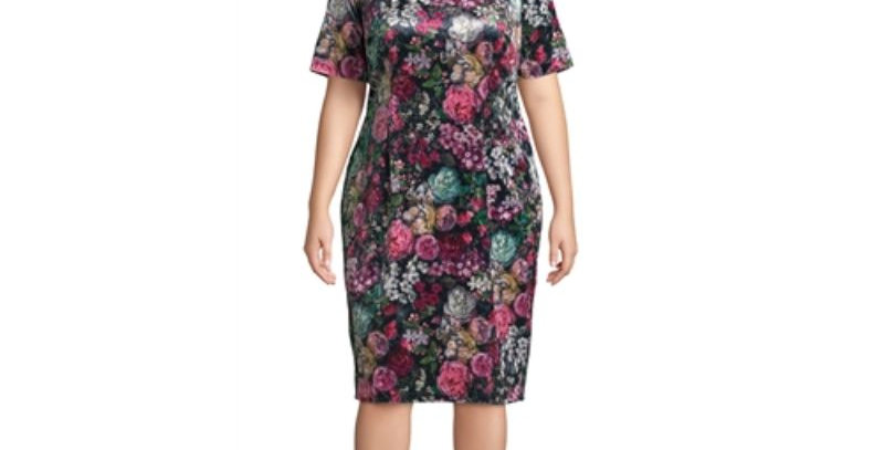 AJ4F371 -Dress - Floral Print Velvet