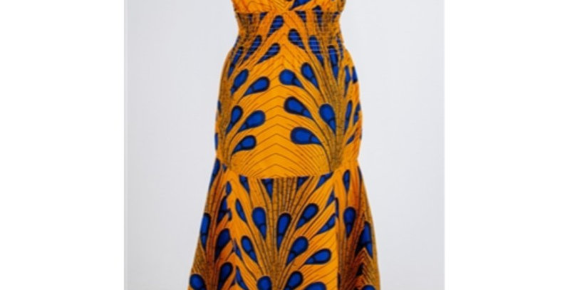 AJ4F343-KAR507-African Dress-Yellow