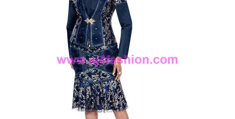 136714 - 2Pcs Dress & Jacket - Blue/Gold (DENIM)