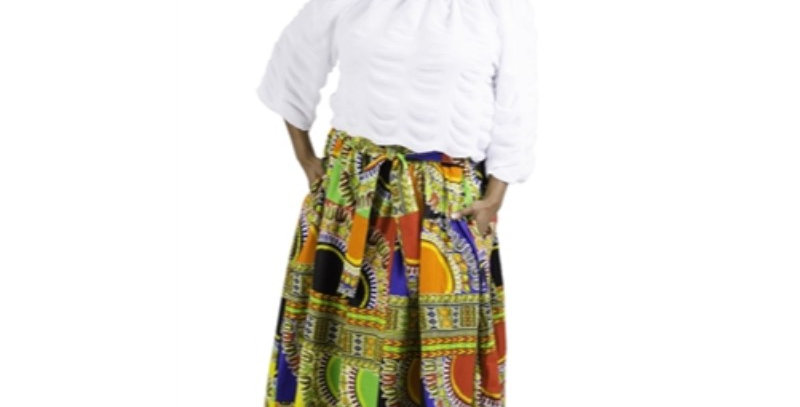 African Skirt Elastic Waist - AJ4F251-7003 -Multi color