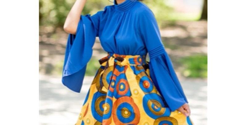 African Skirt with Elastic Waist - AJ4F207-7012