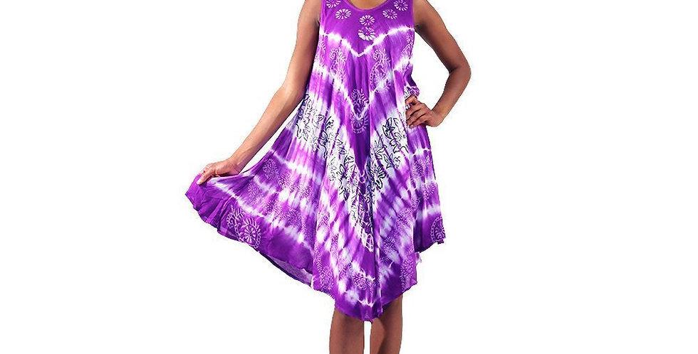 AJ4F360-WH546-Purple - Tie-Dye Dress