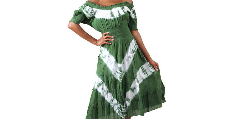 AJ4F366-W813-Green-Tie Dye Summer Days Dress Authentic African Print Dress-Multi
