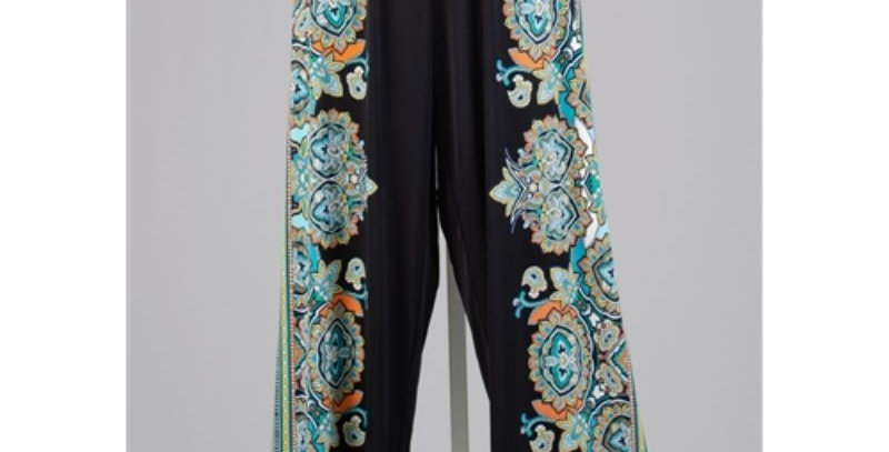 AJ4F349 - Wide Leg Print PlusSize Pant - Multi color