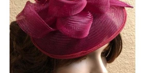 AJ4F340 Hat-Burgandy- Headpiece with Net