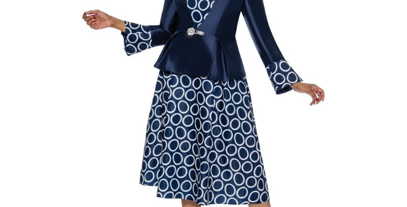 277404 - 2Pc Dress & Jacket - Navy