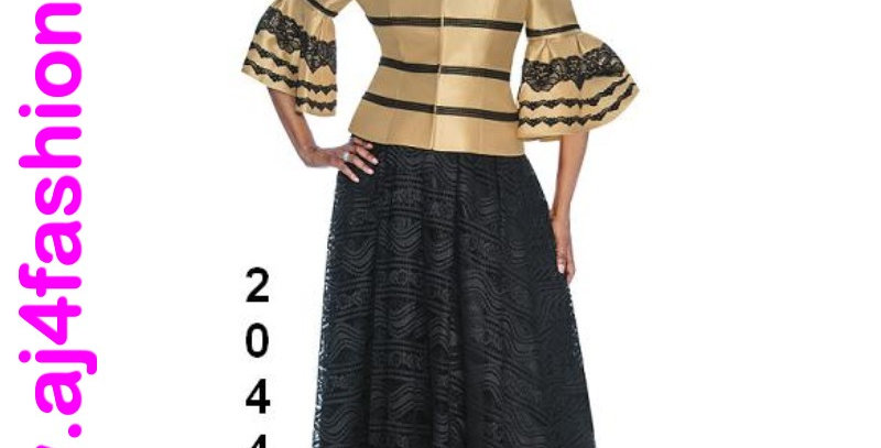 511004 & 520444 - 2Pcs Top & Skirt - Gold/Black