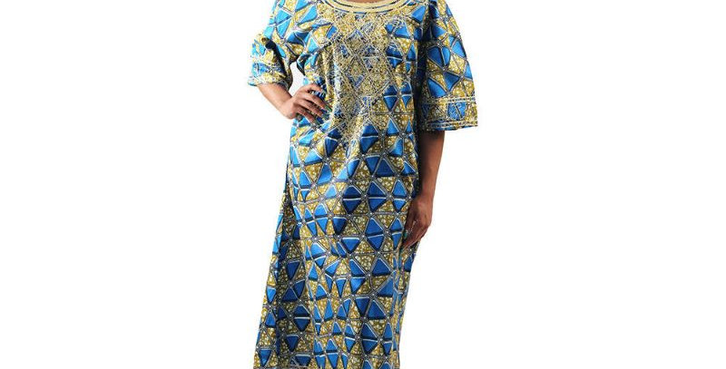 AJ4F362-WH807-Blue -Embroidered African Print Dress