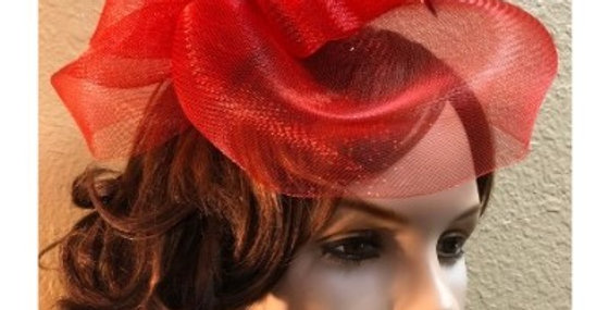 AJ4F342 Hat-Red- Headpiece with Net