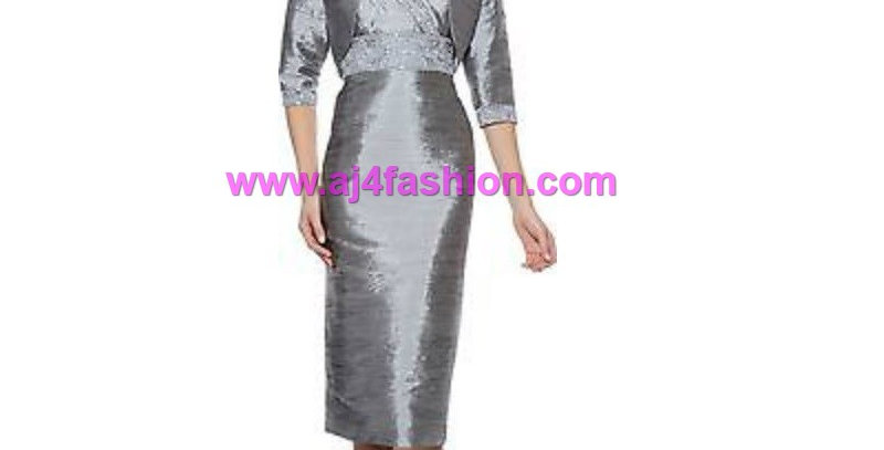 383934 -2 Pcs Dress & Jacket - Silver