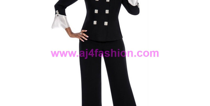 136294 - 2 Pcs Pant Suit -Black/White