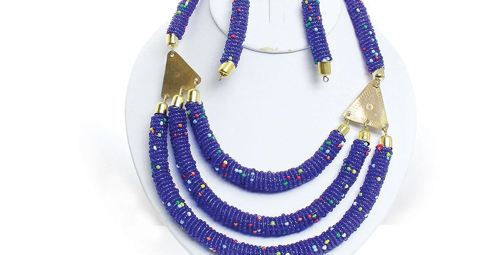 AJ4F332 Necklace -3 strands beads-Blue JS577