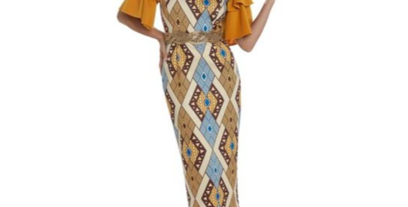 AJ4F333 - 1 Pc Dress Love the Queen 17203-Mustard/Beige