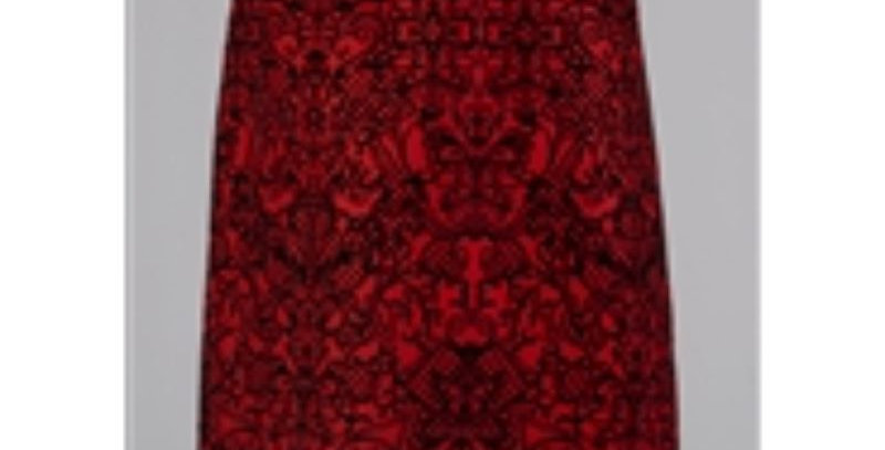 AJ4F351 - Flocked Brocade Plus Size Skirt - Red