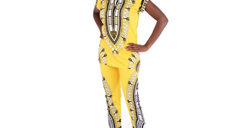 AJ4F326 -Yellow-Traditional Print Pant Set CWS834