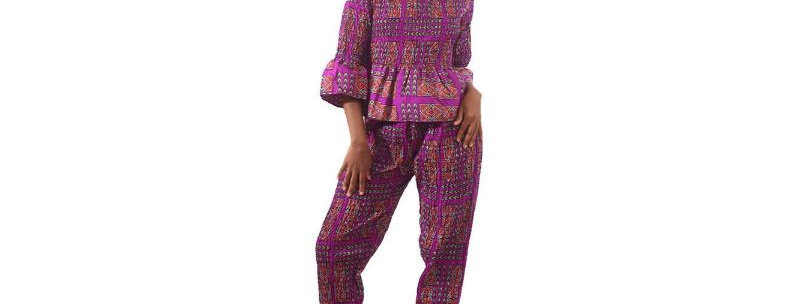 AJ4F370 -Purple Afrocentric Pant Set