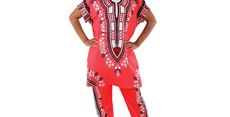 AJ4F326 Plus Sized Traditional Print Pant Set CWS834-Red