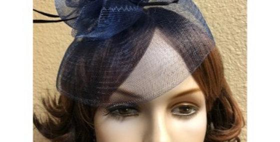 AJ4F343 Hat-Blue- Headpiece with Net