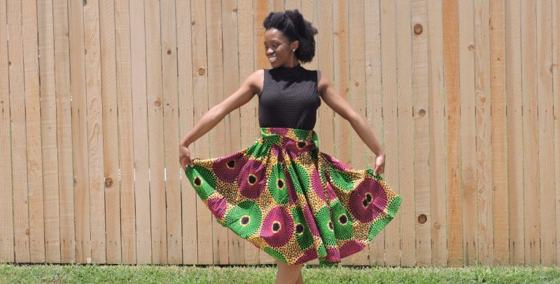 African Skirt with Elastic Waist - AJ4F210-7012