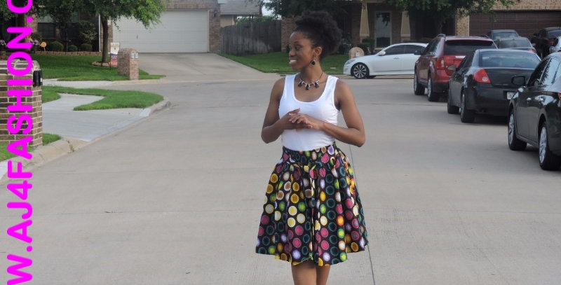 African Skirt with Elastic Waist - AJ4F201-7008