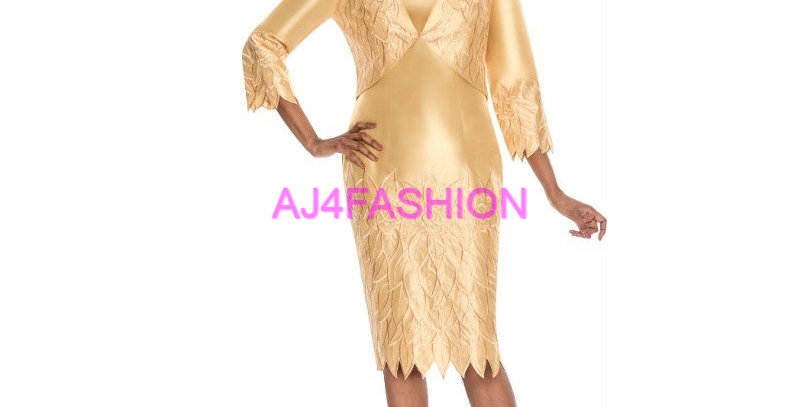 275434 - 2Pcs Dress & Jacket- Gold (Summer Season)