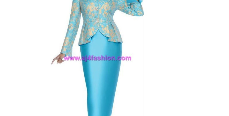 136214 - 2 Pcs Church Suit  Plus Hat - Turquoise