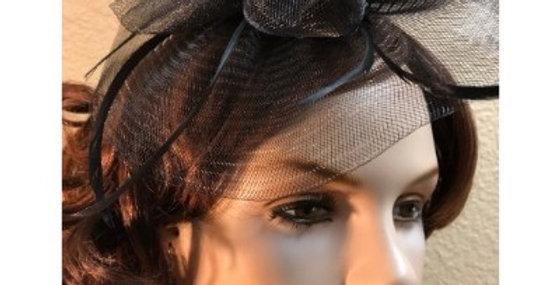 AJ4F343 Hat-Black- Headpiece with Net