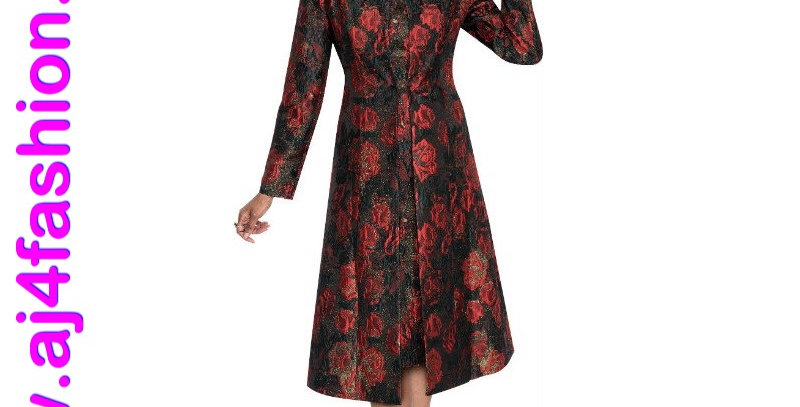 275534 - 3 Pcs Dress/Jacket Plus Hat -Red Multi