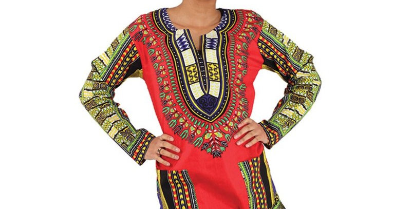 AJ4F55U940-Red-Trad Dashiki Long Sleeves