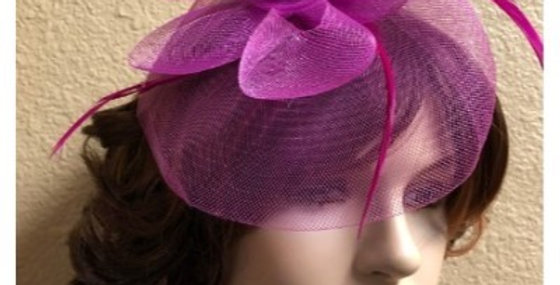 AJ4F343 Hat-Fuchsia- Headpiece with Net