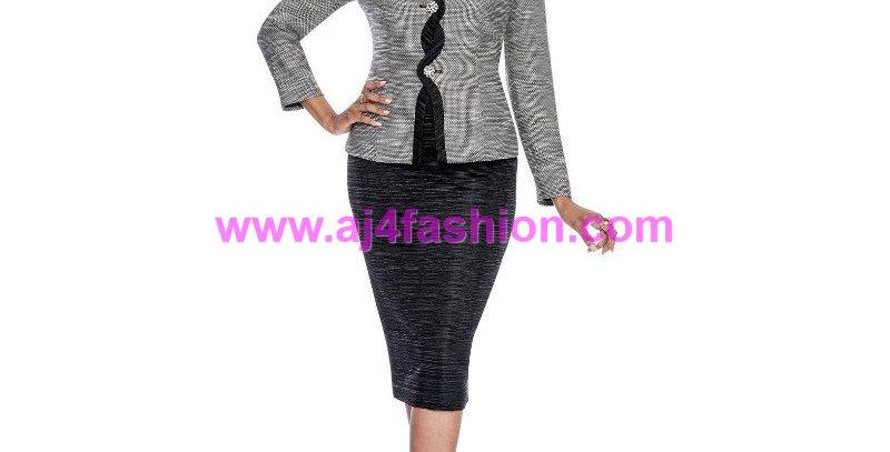 274824 - 3 Pcs Suit -Black/Ivory
