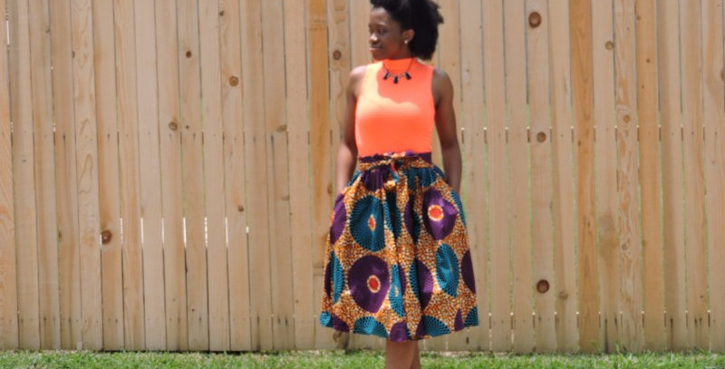 African Skirt with Elastic Waist - AJ4F206-7012