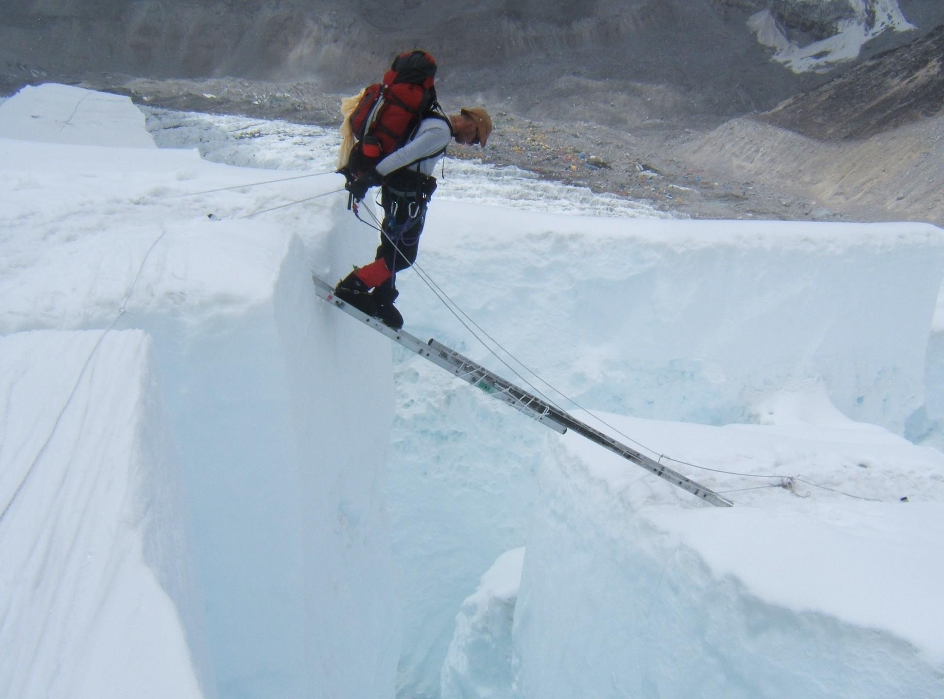 Crossing a crevasse