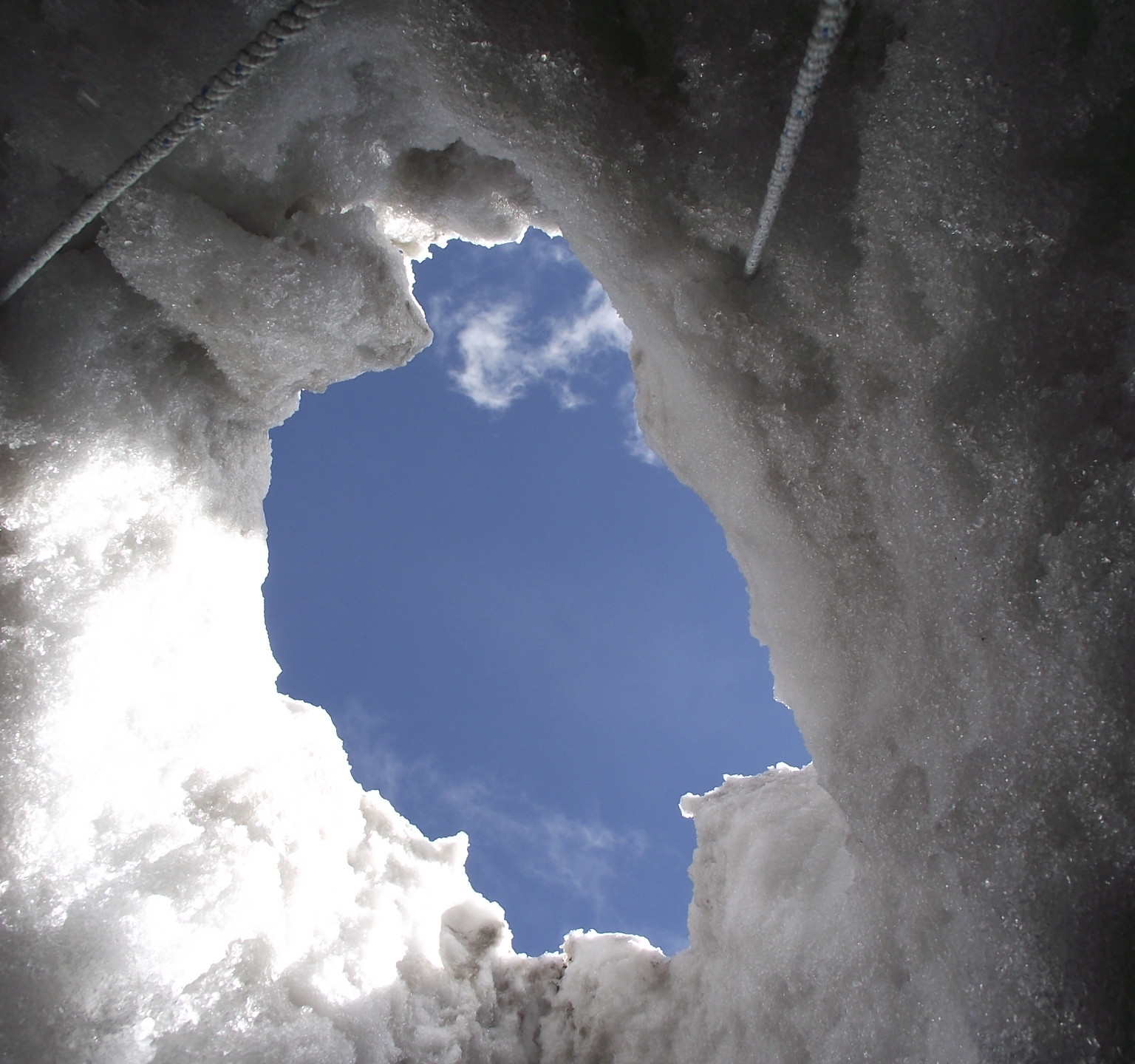 View from inside a crevasse