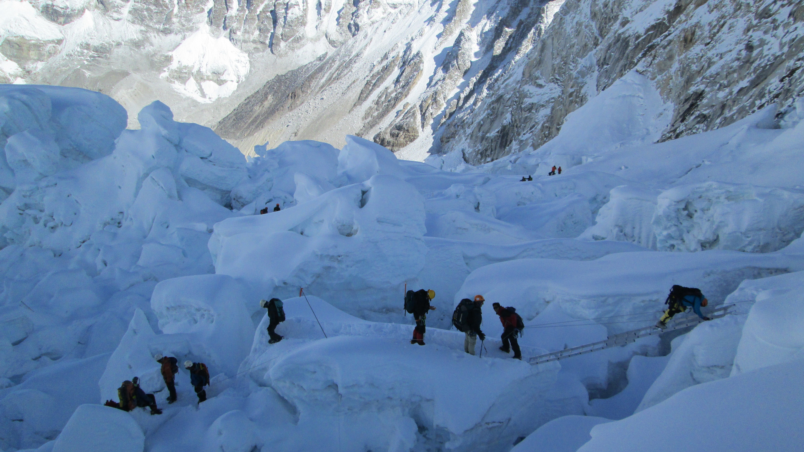 Busy times in the Khumbu Icefall