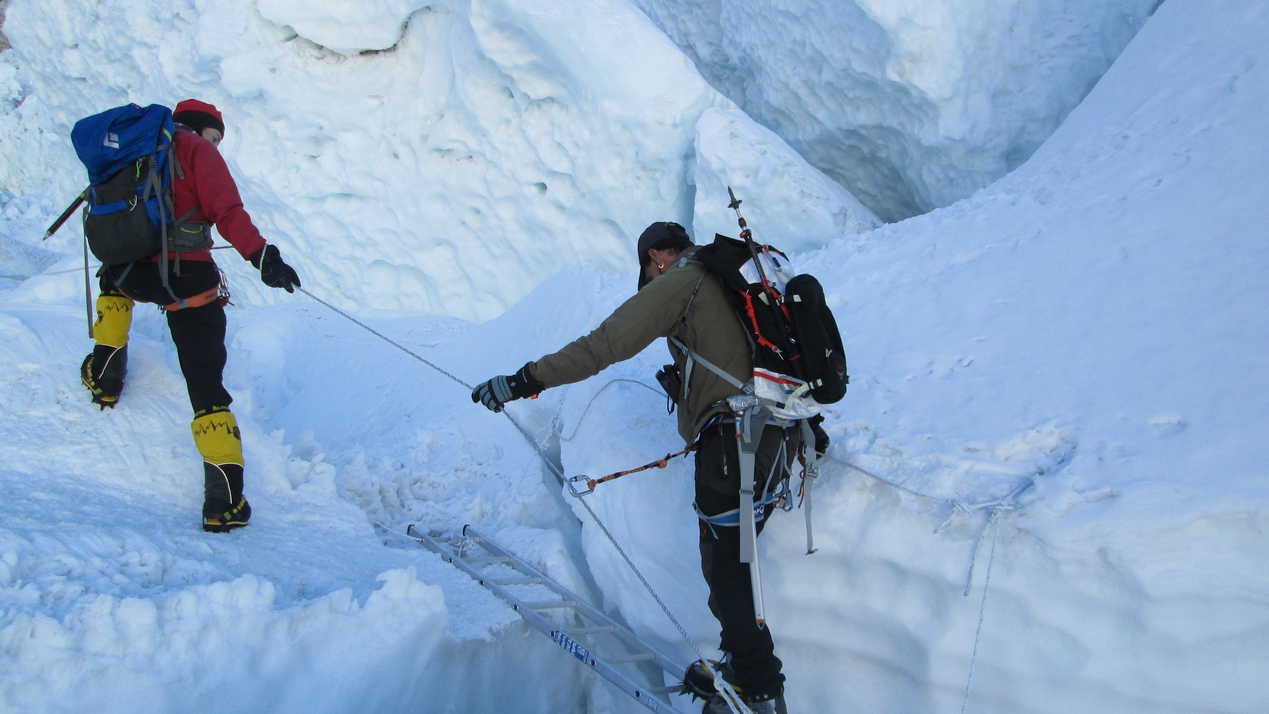 Crossing a crevasse
