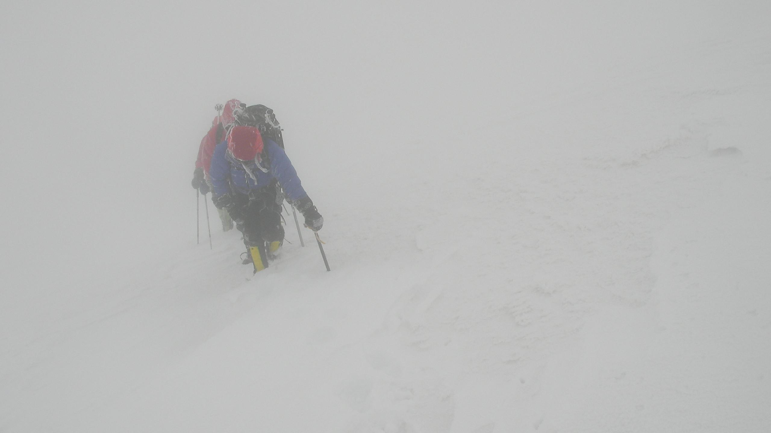 Storm on east summit