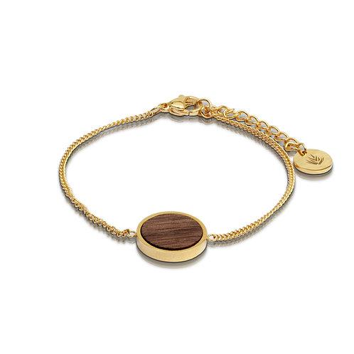 Brazalete circular / Nogal - Chapa de oro 24k