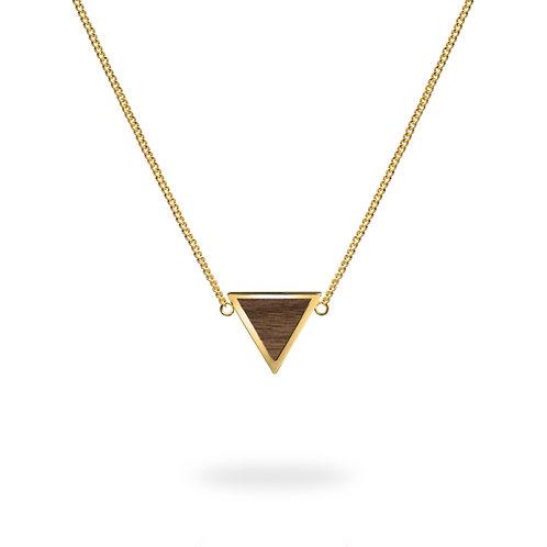 Collar triángulo / Nogal - Chapa de oro 24k