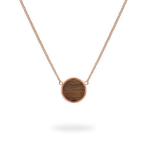 Collar circular / Nogal - Chapa de Oro Rosa 22K