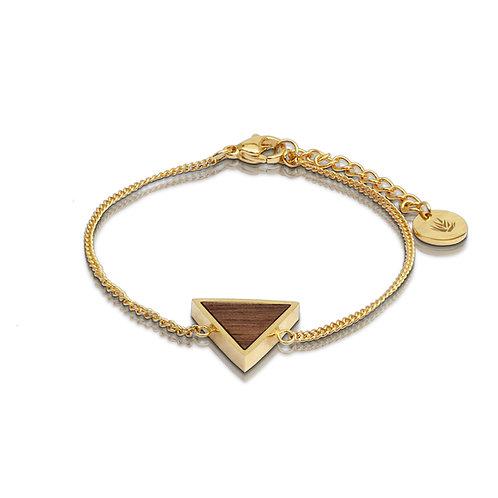 Brazalete triángulo / Nogal - Chapa de Oro 24k