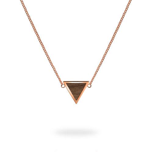 Collar triángulo / Nogal - Chapa de Oro Rosa 22K
