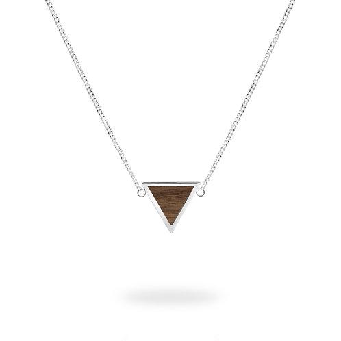 Collar triángulo / Nogal - Chapa de Plata .925