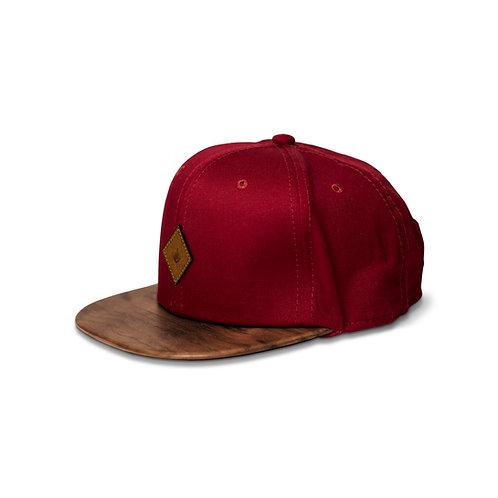 Gorra rojo / Nogal Americano - Piel