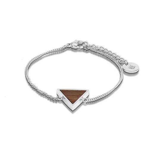 Brazalete triángulo / Nogal - Chapa de Plata 925