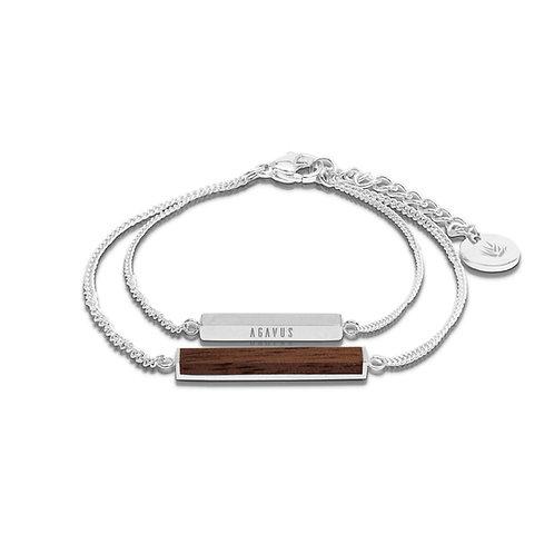 Rectangle / Walnut Bracelet - Silver Plated .925