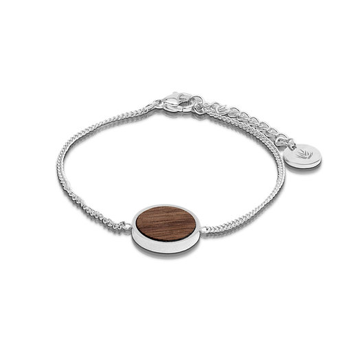 Circular / Walnut Bracelet - Silver Plate .925
